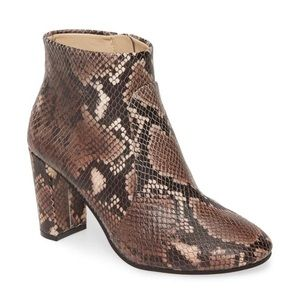 NEW Vince Camuto Taupe Snake Print Leather Bootie
